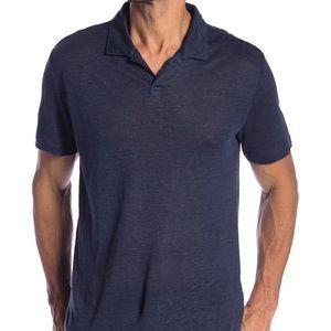 Onia Men's XL Shaun Black Linen Polo NWT